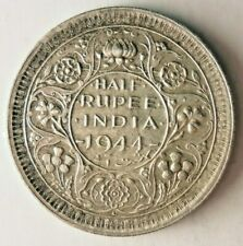 1944 INDIA 1/2 RUPEE - AU -Very Sharp Silver Coin - Lot #Y3