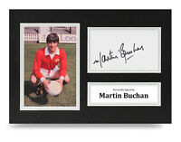 Martin Buchan Signed A4 Photo Display Man Utd Autograph Memorabilia COA