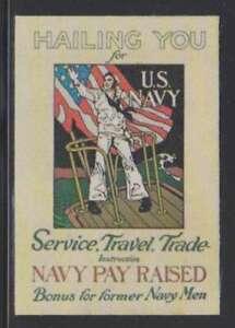 A9990 : 1940's Soie États-unis Marine Affiche Tampon, Mint