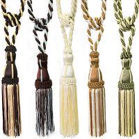 Multi Tone Rope Fringe Tassel Window Curtain Holdback Tie Back Pair 9 Colors