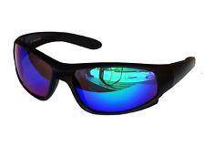 Sportbrille Sonnenbrille Black matt Blau Grün verspiegelt Fahrradbrille Sport M1