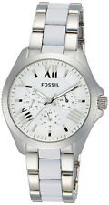 FOSSIL AM4544 LADIES WATCH STELLA CECILE SILVER FACE WHITE ACRYLIC BRACELET