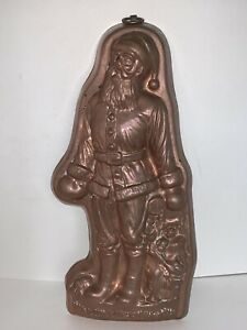 Vintage Birth-Gramm SANTA CLAUS with BAG Chocolate Candy COPPER MOLD Switzerland