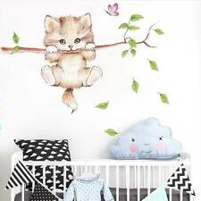 Cute cat butterfly tree branch wall stickers rooms home decor cartoon for kids