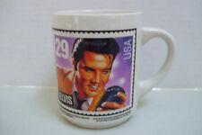 Vintage 1992 Collectible White Ceramic Elvis Presley U S A Stamp Coffee Mug Cup