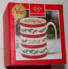 Lenox Holiday Wishing You Love Holly Ceramic Coffee Mug Cup Box New 12oz