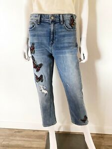LUCKY BRAND BRIDGETTE SLIM STRAIGHT BUTTERFLY EMBROIDERED JEANS SIZE 6 CROPPED