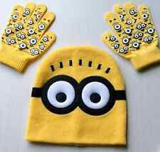 Despicable Me 2 Minion Knitted Beanie Winter Hat & Gloves Kids Boys Girls  Set G