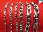 16-84 3/4/5/7/9/10/12MM MEN/WOMEN SILVER STAINLESS STEEL FIGARO ROPE NECKLACE