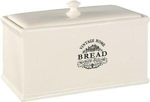 Premier Housewares Vintage Home Bread Box Cream Bread Bin Kitchen Accessories