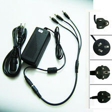 12V 6A Power Supply AC Adapter DC Cable 1 to 3 Splitter 4 LED Light CCTV Camera