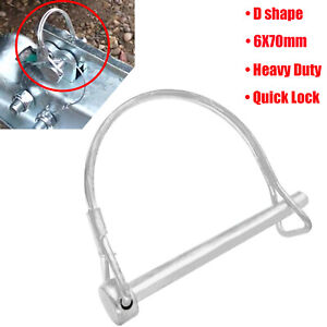 Trailer Coupler Safety Pin Lock Latch Clip Towing Hitch Car Boat Bicycle D Shape