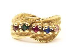 Vtg 14K Gold Multi Stone Ring Sz 5.75 Emerald Ruby Sapphire Topaz Modern Wavy
