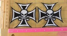 Skull Cross Biker Motorcycle club interest shoulder Patch set lot of 2 patches