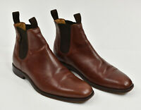RUSSELL & BROMLEY LONDON Oxblood Brown Leather Hand Made Chelsea Boots 42 US 8.5