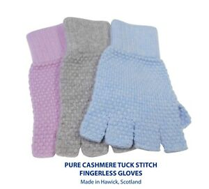 Ladies Pure Cashmere Fingerless Gloves - Knitted with a tuck stitch finish