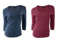 Womens PAPAYA Blue Red 3/4 Sleeve Cotton Tops - UK Size 10 12 14 18 20 22