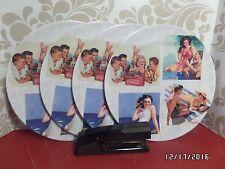 Retro Coca-Cola Dinner Plates (Set of 4) Nostalgic Beach Girl Swimsuit Scene-NEW