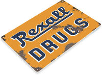 TIN SIGN Rexall Drugs Metal Décor Art Cottage Cabinet Kitchen Store Bar A738
