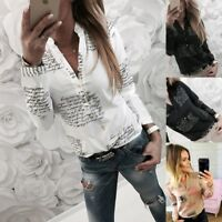 Ladies Women Summer Collared Print OL Shirt Long Sleeve Casual Top Blouse Button