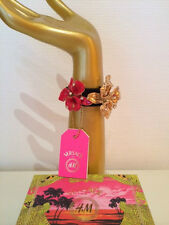 Versace for H&M Armband Damen-Armband Leder mit Blüten rot und gold *NEW* in Box
