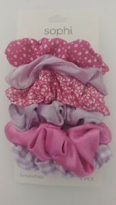 SOPHI Hair Accessories Scrunchies PURPLE & ASSORTED 6 Pieces NEW