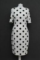 HOBBS Ladies Ivory Black Polka Dot Short Sleeve Crew Neck Astraea Dress UK10 NEW