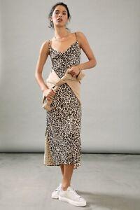 Anthropologie Leopard Print Slip Dress Medium