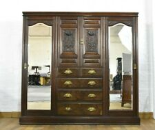 Nice Quality! Antique carved walnut combination triple wardrobe