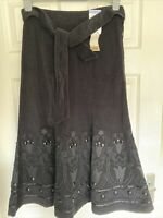 M&S Pin Cord Long Skirt Hand Embellished Lined Uk 8 Black Belted