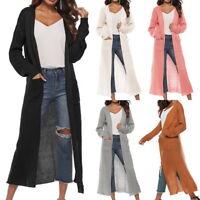 JD Women Long Knit Split Trench Coat Casual Slim Cardigan Jacket Parka Outwear