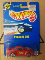 HOTWHEELS 1991 BLUE CARD PORSCHE 959 [RED] DARK BLUE SURROUND 59 VHTF NEAR MINT
