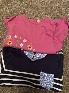 Baby Girls Jojo Maman Bébé 6-12 Months Pink Elephant And Navy Striped Top Bundle