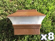 8 Custom Wood Grain Texture 4X4 Solar LED Post Deck Cap Square Fence Light