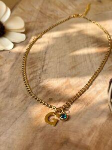 Halskette Damen Mit buchstabe Initial Und Geburtsstein Individuell Personalisier
