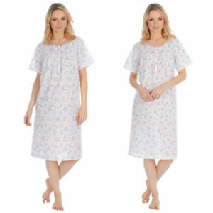 Cottonique 4 button floral nightdress pink or blue 10-12 14-16 18-20 22-24 (89)