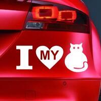 I LOVE MY CAT Sticker Funny Car Window Bumper JDM Van Novelty Vinyl Decal