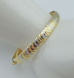 Armreif 585, 14 Karat Gold bicolor, Ø6,3cm, 18,6cm lang, echt Gold, Muster