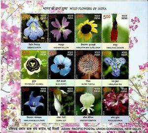 INDIA 2013 STAMP SHEETLET WILD FLOWERS OF INDIA .MNH
