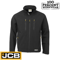 JCB Work Wear Trade Soft Shell Jacket Waterproof Breathable Zipped Pockets Black