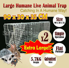 2x Extra Large Humane Live Animal Possum Trap Rat Cat Rabbit Hare Bird Bait Rat