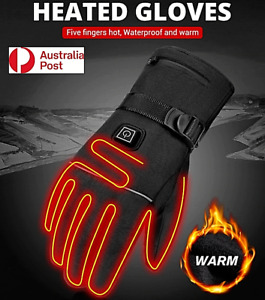 Motorcycle Gloves Motorbike Heated Glove Electric Waterproof USB Touch Screen AU