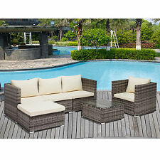 New Listing6PC Rattan Wicker Patio Furniture Set Outdoor Cushioned Sofa U0026 Table  Garden Lawn Part 56