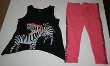 Used Gymboree Girls 2 Piece Outfit 12 Year Glitter Zebra Tunic Top & Leggings