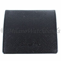 Glam Rock Black High Quality Saffiano Leather Snap Close Coin Holder