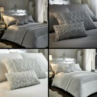 Zenia Sequin Diamante Duvet Cover Set Runner Filled Cushions Silver Grey White