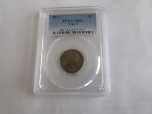 1913 , Buffalo Nickel , PCGS MS66  , Type 1