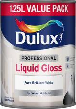 Dulux 1.25L Professional Liquid Gloss Pure Brilliant White Paint With PaintBrush