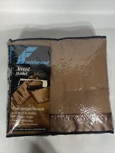 Vtg Fieldcrest Accent Loom Woven Full Blanket w/Satin Binding Winterweight 80x90