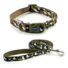 Ancol Dog Collar or Lead Khaki Green Combat Design Adjustable Nylon in 3 Sizes